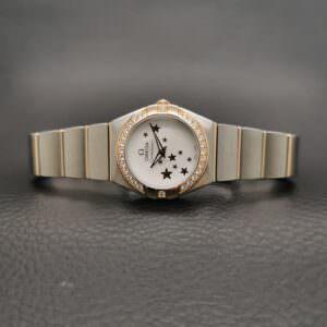 Omega Constellation Quartz MOP Dial Ring Diamonds Ladies